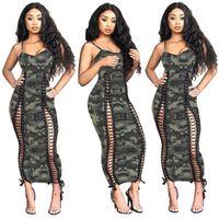 Kleid Europa und Amerika Damenbekleidung Mode Camouflage Lace Sling Slim Fit Kleid Freizeit Sexy Long Rock neue Stil Fabrik Großhandel