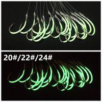 40pcs 20 # / 22 # / 24 # Luminous Maruseigo Hook (con las líneas de pesca) de púas Pesca Hooks anzuelos Aparejo de pesca A-009