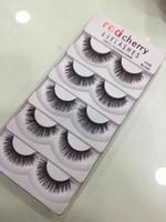 Rouge cerise Faux cils 5 paires / pack 8 Styles Natural long maquillage professionnel Grands yeux de haute qualité cils faux