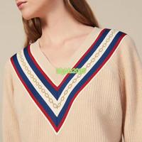 üst uç kadın kız örgü yün kazak çizgili nakış zincir desen v yaka uzun kollu bluz gömlek triko moda tasarım kazak üst