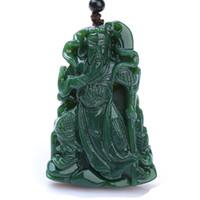 Изысканные ювелирные изделия 100% натуральная ручная резьба зеленый нефрит у бог богатства Гуань Юй восемнадцать лохань ожерелье Бесплатная доставка