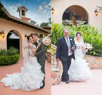 Cascading ruffles русалка свадебные платья 2020 Сладкое сердце корсет задние аппликации бусины садовые садовые капельницы свадебные платья Vestidos de Novia