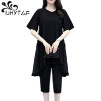 Abito a due pezzi Uhytgf Fashion Plus Size 2 Set Casual Black Donne Vestiti estivi per manica corta Top lungo Pantaloni 877