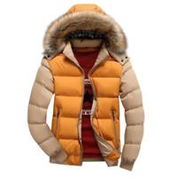Uomini Down Jacket New Winter Casual Male incappucciati Outwears cappotto caldo pelliccia Parka cappotto Men 'S spessa Fleece Jackets Zipper il formato S-4XL