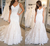 Plus Size Mermaid Wedding Dresses Lace Appliqued 2021 Sexy Spaghetti Straps Vestidos De Novia Sweep Train Backless Brides Gowns AL2869