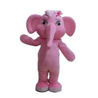 Rosa elefant karaktär maskot kostym outfits vuxen storlek tecknad maskot kostym för karneval festival kommersiell klänning