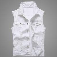 Erkek Yelek Delik Denim Yelek Erkekler Beyaz Kot Yelek Fashions Yaz Kolsuz Ceket 5XL Punk Biker Için Katı Kaya