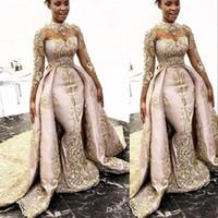Luxus Neue Afrikanische sexy Meerjungfrau Brautkleider High Hals Illusion Gold Lace Appliques Overrahm Abnehmbare Zug Plus Größe Brautkleider