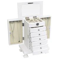 US Stock Handgjorda Trä Smycken Box Organizer Velvet Interior Wood 7 Lager Väska med 6 lådor-vita smyckesburkar med spegellås