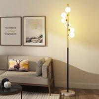 북유럽 플로어 램프 침실 거실 개성 창조적 인 볼 철 아트 따뜻한 포스트 모던 연구 침대 옆 유리 램프 L123