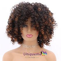 Cheap African American Wigs Ombre Brown Curly Short Hair Wig...