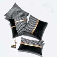 Personality Houndstooth PU Patchwork Pillowcase Fashion Car ...