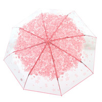 Innovative Folding Umbrella Cute Cherry Blossom Pattern Tran...