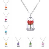 pingentes colar clássica vidro Vial Colar Rose Prince Retro Cristal Natural Seco família Flores Colar para o Mom
