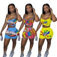 الصيف النساء قطعتين ملابس أزياء مصمم إمرأة عارضة المطبوعة رياضية بروتيل بروتيل الأعلى السراويل قطعتين مجموعة رياضية زائد الحجم LY103