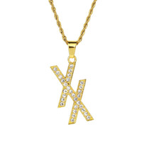 Bling Rhinestone XX Letter Pendant Necklace Gold Filled Mens...