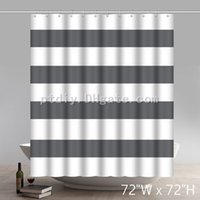 Geometric 100% Cotton Shower Curtain Wide Stripes Fabric Sho...