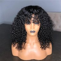 9A Kinky Curly Human Hair Wigs With Bangs Pre Plucked Virgin...