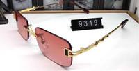 النظارات الشمسية موضة جديدة للعدسات رجل امرأة بدون إطار نظارات موقف جديد بافالو القرن نظارات شمسية مات ليوبارد التدرج UV400 صندوق وحالة