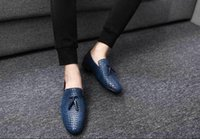 New Breathable weaving leather shoes men oxford slip- On whit...