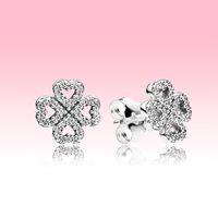 محظوظ البرسيم مربط القرط 925 فضة المرأة مجوهرات الزفاف مع المربع الأصلي ل باندورا تشيكوسلوفاكيا أقراط الماس