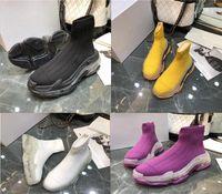Nova Moda sapatos Paris Triple S Socks malha rosa preto branco do estilista Sneakers homens e mulheres casuais sapatos de alta qualidade sapatos executando