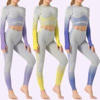 Бесшовные женщины йога набор мода дади постепенное изменение жесткой бедра с длинным рукавом высокая талия йога костюм тренажерный зал одежда бесшовные спортивный костюм
