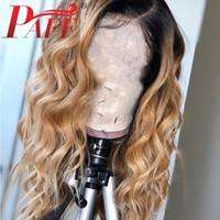 Parrucche umane del pizzo del merletto biondo del PAFF dell'ombre parrucche dei capelli umani 1B27 Rootture scure Malesia Allentato le parrucche dei capelli umani anteriori del merletto delle onde per le donne
