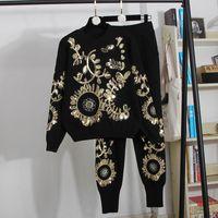 o-cuello de 2020 nuevas mujeres de la manga larga de punto de lujo del paillette de lentejuelas shinny barroco floral patrón suéter de la tapa y los pantalones largos del harem conjunto