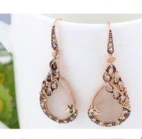 Europa y América del collar de la gema pendiente de cristal de pavo real colgante de diamantes de imitación collar de la gota del pendiente de la joyería de moda gotas de agua