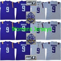 LSU Tigers 1918 Silenzioso Stagione 2018 Womens 125 ° # 9 Joe Burrow 150 ° Patch # 3 Odell Beckham Jr. # 7 Fournette Peterson Mathieu Collegio Maglie