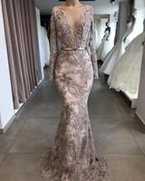 Роскошные вечерние платья русалки из бисера с длинными рукавами Deep V-образным вырезом Кружева Pageant Prom Trans Press