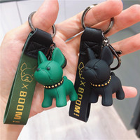 2019 Keychain Bulldog Bag Accessories Punk Style Pendan Pu Leather Animal Dog Keyring Holder Bag Charm Trinket Chaveiros parts