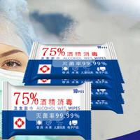 10 fogli = 1 * Confezione da 75% di alcol Salviette portatile della mano del tovagliolo SWABS Pad Disinfezione tamponi antisettici Cleanser di pulizia sterilizzazione