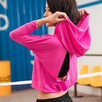 Toppick Yoga Top Backless Hollow Out Long Sleeve Running Shi...