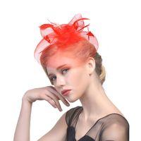 Fiesta de la boda de la vendimia sombreros de novia tocado de plumas de Fascinator de la flor gran Gatsby nupcial Headwear para Negro Azul marino Blanco