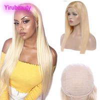 Perulu 100% İnsan Saç Ürünleri Dantel Ön Peruk Sarışın İpeksi Düz Saç Dantel Peruk 613 # Sarışın 12-32 inç