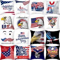 Fodera per cuscino 45 * 45 cm American Independence Day Divano Federa USA bandiera stampata Home Decor Fodera per cuscino HHA602