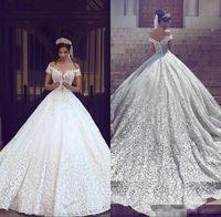 Саудовская Аравия Дубай 2019 роскошные короткие рукава свадебные платья с плеча аппликации спинки с развертки поезд свадебные платья халат де брак