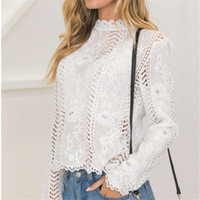 Back Women White Lace Hollow Long Sleeve Blouse Turtleneck T...