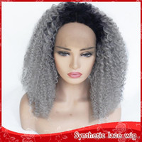 Free Shipping Synthetic Wigs 18inch Ombre Grey Afro Kinky Cu...