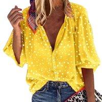 WENYUJH Nouveau manches longues femmes Chemisier Bureau Automne Lady Blouses Femmes Tops 2020 Summer Vintage Button Femme Chemises