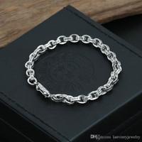 A estrenar 925 joyas de plata esterlina plata antigua pulseras de cadena de eslabones de diseñador hecho a mano europeo americano para hombres mujeres