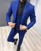 New Royal azuis formais ternos dos homens do partido para casamento 3 Piece One botão do noivo ternos Slim Fit noivo Suit Tuxedo Blazer (jaqueta + calça + Vest)
