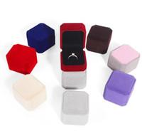 Venta al por mayor 6 unids caja de exhibición de joyería rojo negro azul anillo anillo joyería organizador caja paquete caja de regalo de almacenamiento 5.5 * 5 * 4 cm A0199
