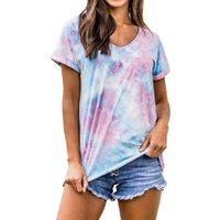 Kadın T-shirt 2021 Yaz Degrade Boy Tshirt Kadınlar 5XL V Yaka T Gömlek Ile Baskı Kravat-Boya Bayan Artı Boyutu Modası Kısa Kollu