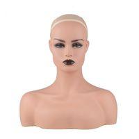 Vendita calda Femmina Realistico PVC Mannequin Testa Busto Vendita per la parrucca Gioielli e display del cappello