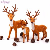 Рождественские украшения Fengreise 15 см 20 см 25 см, смоделированные плюшевые оленя поддельных пушистых оленей для домашнего декора украшения навидадских поставок