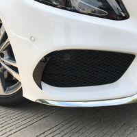 Cabeça preta Car Frente Fog Lamp Grille Slats Tampa guarnição Para a Mercedes-Benz Classe C W205 2015-2018 pára-choques dianteiro Adesivo Decoração