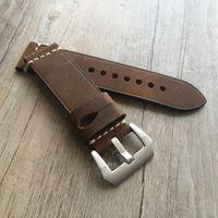Alça de Couro de alta Qualidade 20 22mm 24mm Couro Genuíno Crazy Horse Pulseira de Couro Watchband Strap Homem Relógio Correias Para Panerai Pam Y19070902